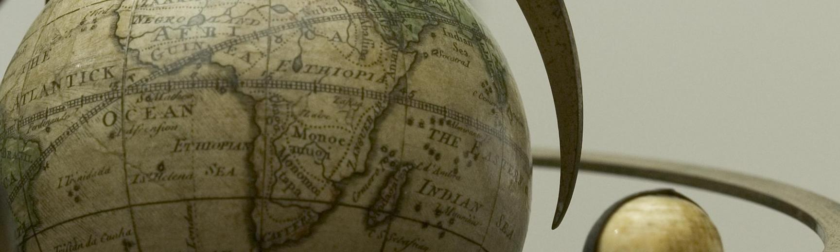 Renaissance Globe Project banner featuring a terrestrial globe signed by Richard Cushee, London, c. 1731, inventory number 35757