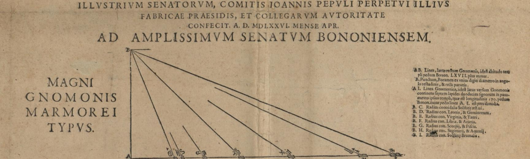 Mounted broadsheet 'Usus tractatio gnomonis magni' with diagram of a Sundial, Bologna, 1576