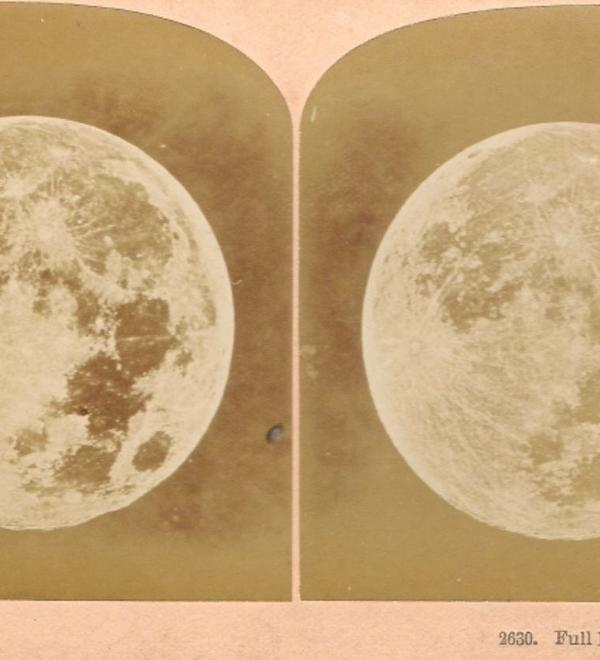 13516 Stereoscopic Photograph Albumen prints of the Moon by Kilburn Brothers Littleton NH USA 1860s