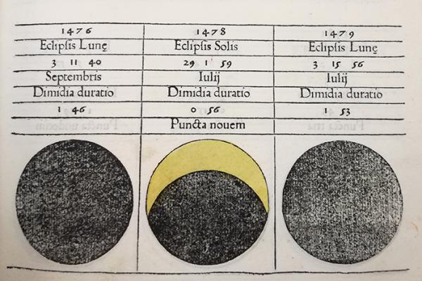 Page from a book, from mid-1400s, showing a calendar of predicted solar and lunar eclipses, by Regiomontanus
