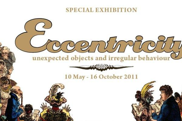 Eccentricity exhibition poster announcing unexpected objects and irregular behaviour