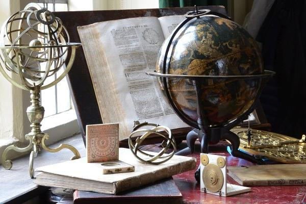 The Renaissance in Astronomy exhibition photograph featuring Johannes Schöner's celestial globe and other objects