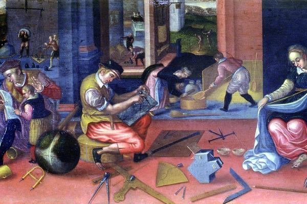 detail from The Measurers, a painting depicting a range of practical activities