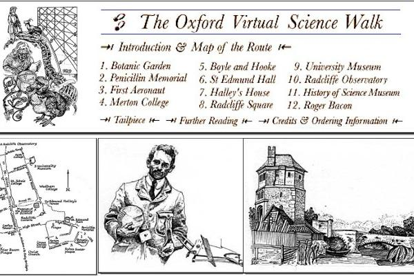 Oxford Virtual Science Walk composite picture with map and sketches