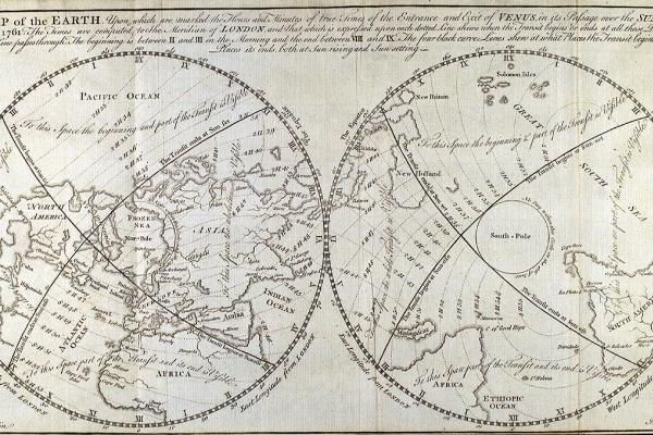 Map showing global visibility of the transit of Venus, 1761