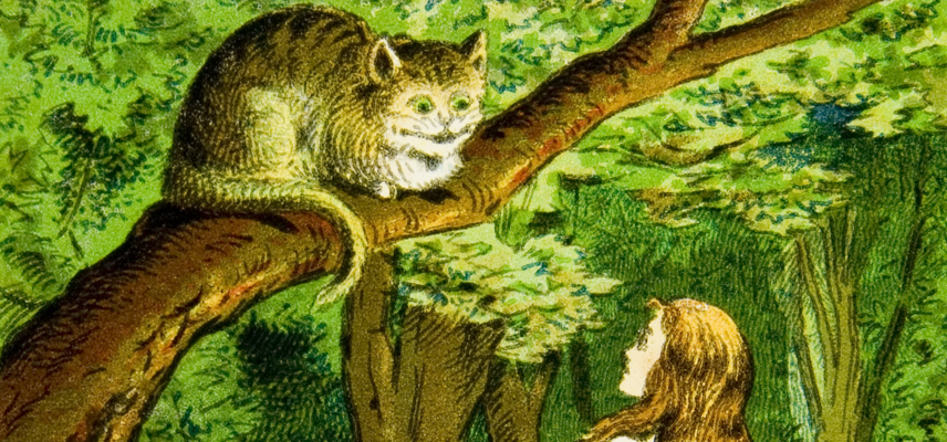 Alice Lantern Slides 003 Alice meets Cheshire Cat 1800x840px.png