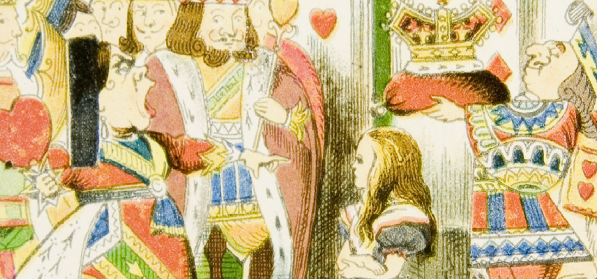 """16 Alice Magic Lantern slides Alice with the Queen of Hearts """"Off with her head!"""" 1800x840px"""