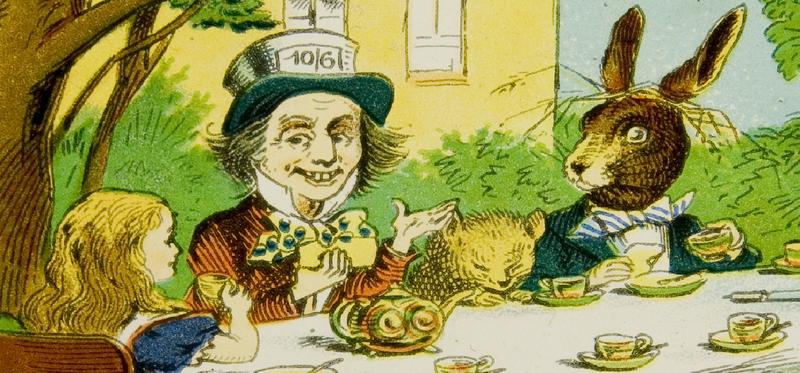 13 Alice Magic Lantern Slides Mad Hatter's Tea Party 1800x840px