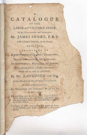 Auction catalogue page fragment