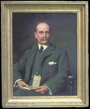 Portrait of Lewis Evans holding a sundial